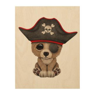 Cute Baby Brown Bear Cub Pirate Wood Print