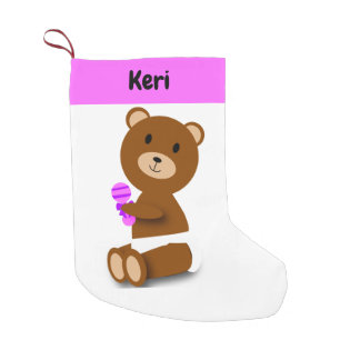 Cute Baby Brown Bear Personalize Small Christmas Stocking