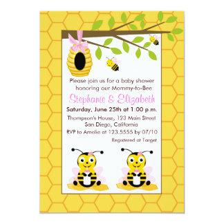 Cute Baby Bumblebee Twin Gir Baby Shower Card