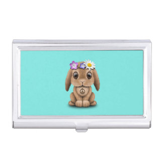 Cute Baby Bunny Hippie Business Card Holder