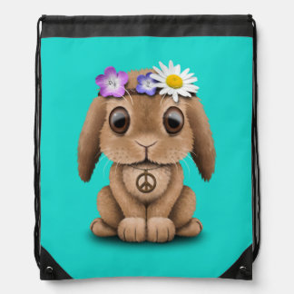 Cute Baby Bunny Hippie Drawstring Bag