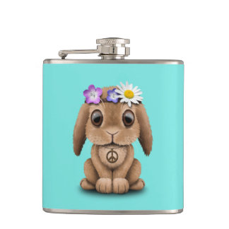 Cute Baby Bunny Hippie Flask