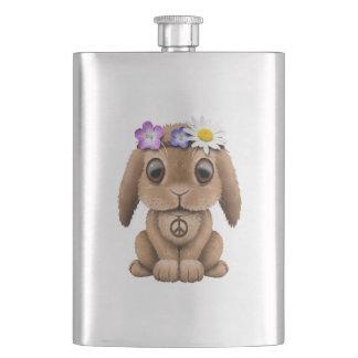 Cute Baby Bunny Hippie Hip Flask