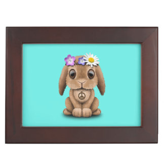 Cute Baby Bunny Hippie Keepsake Box
