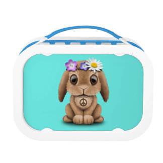 Cute Baby Bunny Hippie Lunch Box