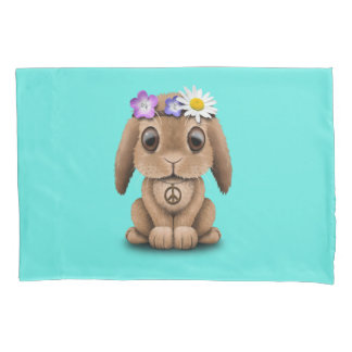 Cute Baby Bunny Hippie Pillowcase