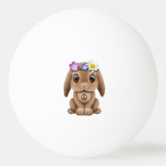 Cute Baby Bunny Hippie Ping Pong Ball