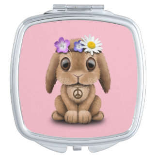 Cute Baby Bunny Hippie Travel Mirror