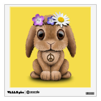 Cute Baby Bunny Hippie Wall Decal