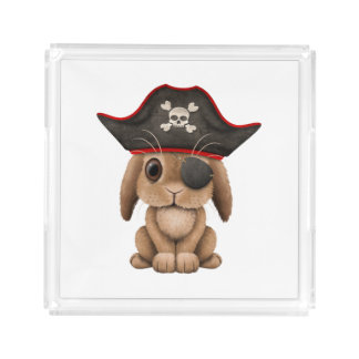 Cute Baby Bunny Pirate Acrylic Tray