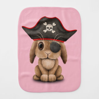 Cute Baby Bunny Pirate Burp Cloth