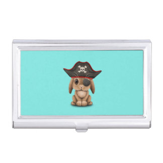 Cute Baby Bunny Pirate Business Card Holder