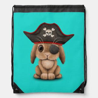 Cute Baby Bunny Pirate Drawstring Bag
