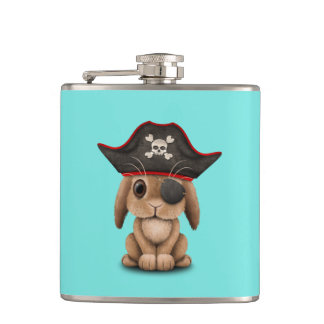 Cute Baby Bunny Pirate Hip Flask