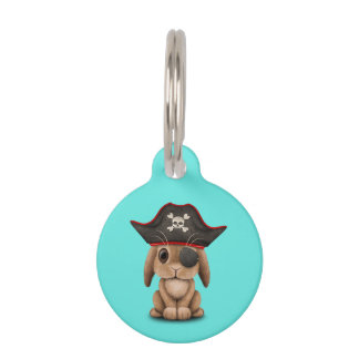 Cute Baby Bunny Pirate Pet Name Tag