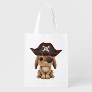Cute Baby Bunny Pirate Reusable Grocery Bag