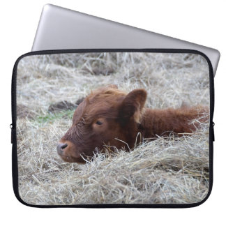 Cute Baby Calf, Farmyard Animal Laptop Sleeve