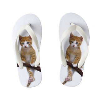 Cute Baby Cat Kitten Funny Play Gym Photo - Kids Kid's Flip Flops