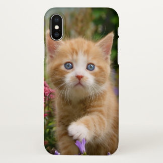 Cute Baby Cat Kitten Pet Playing Animal Photo Head iPhone X Case