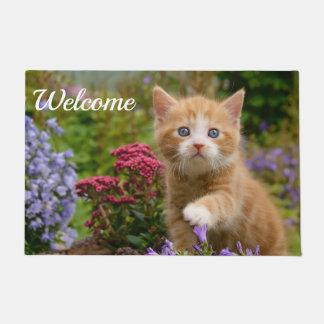 Cute Baby Cat Kitten Playing Photo Head // Welcome Doormat