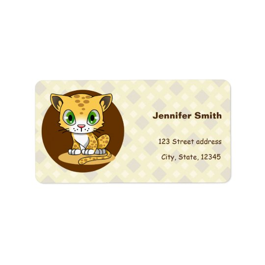 Cute baby cat leopard cartoon address labels