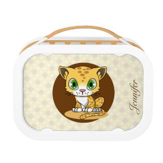 Cute baby cat leopard cartoon name kids lunchbox