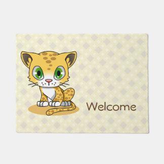 Cute baby cat leopard cartoon welcome door mat