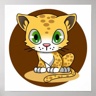 Cute baby cat leopard kawaii kids cartoon poster