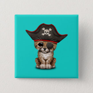 Cute Baby Cheetah Cub Pirate 2 Inch Square Button