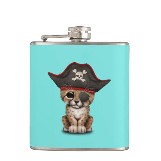 Cute Baby Cheetah Cub Pirate Hip Flask