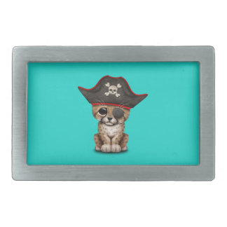 Cute Baby Cheetah Cub Pirate Rectangular Belt Buckles