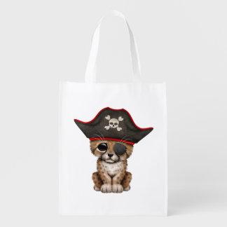 Cute Baby Cheetah Cub Pirate Reusable Grocery Bag