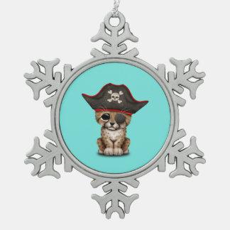 Cute Baby Cheetah Cub Pirate Snowflake Pewter Christmas Ornament