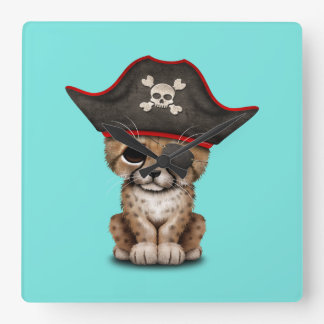 Cute Baby Cheetah Cub Pirate Square Wall Clock
