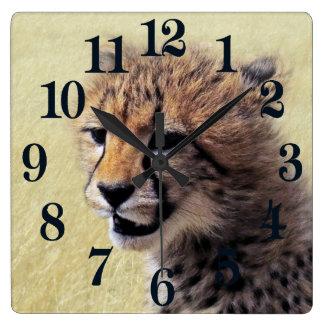 Cute baby Cheetah Cub Square Wall Clock