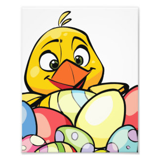 Cute Baby Chick and Easter Eggs Art Photo