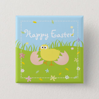 Cute Baby Chick Happy Easter 2 Inch Square Button