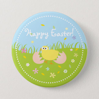 Cute Baby Chick Happy Easter 3 Inch Round Button