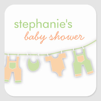 Cute Baby Clothes on the Line Neutral Baby Shower Square Sticker