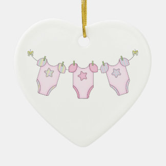 Cute Baby Clothesline Pink Ceramic Ornament