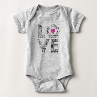 Cute baby clothing showing love to cultures baby bodysuit