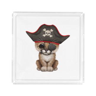 Cute Baby Cougar Cub Pirate Acrylic Tray