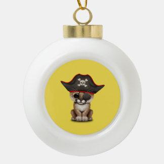 Cute Baby Cougar Cub Pirate Ceramic Ball Christmas Ornament