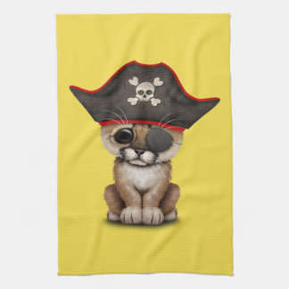 Cute Baby Cougar Cub Pirate Kitchen Towel
