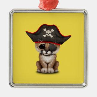 Cute Baby Cougar Cub Pirate Metal Ornament