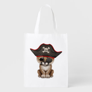 Cute Baby Cougar Cub Pirate Reusable Grocery Bag