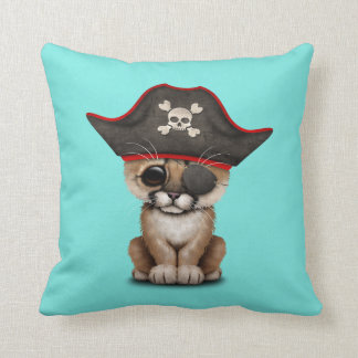 Cute Baby Cougar Cub Pirate Throw Pillow