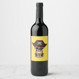 Cute Baby Cougar Cub Pirate Wine Label