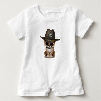 Cute Baby Cougar Cub Sheriff Baby Romper