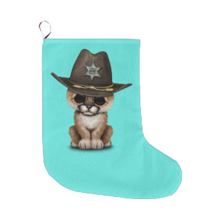 Cute Baby Cougar Cub Sheriff Large Christmas Stocking
